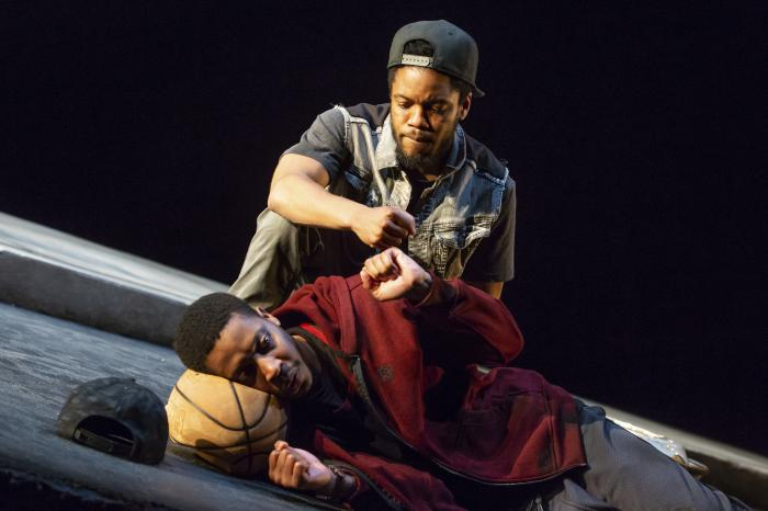 """Namir Smallwood, foreground, and Jon Michael Hill in a scene from """"Pass Over"""" in New York."""